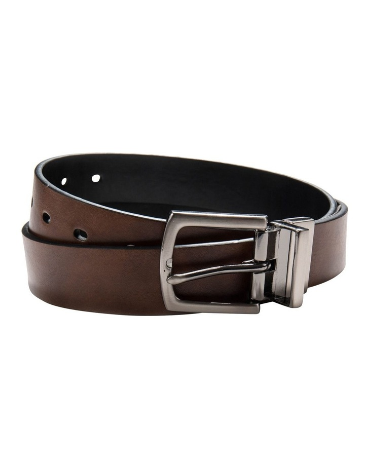 BSBES17014 Reversible Brushed Gunmetal Pin Buckle 32 mm Belt - Brown/Black image 2