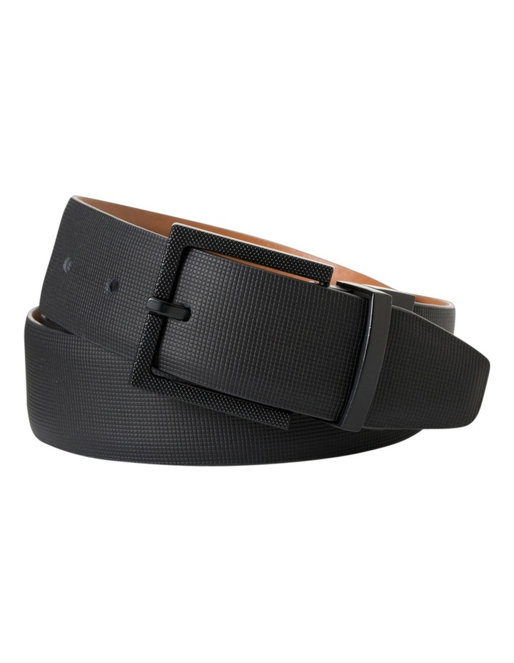 Black/Tan Reversible Etched Belt W/ Buckle VBM111Z_BBLK image 1
