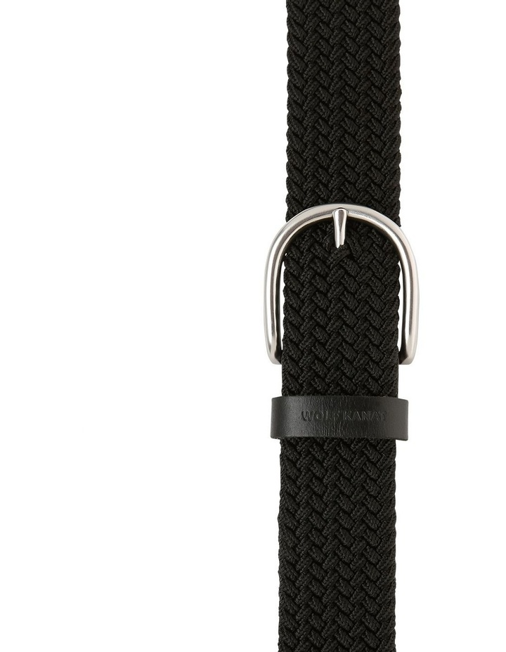 Salem Black Stretch Woven Belt With Leather Finishing image 1