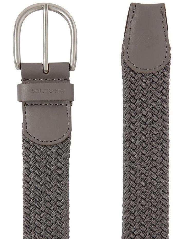 Salem Grey Stretch Woven Belt With Leather Finishing image 2