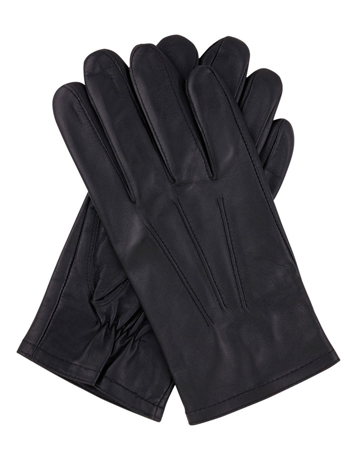 Mens Fine Leather Gloves With 3-Point Stitch Detail And Fleece Lining 75-0003 image 1