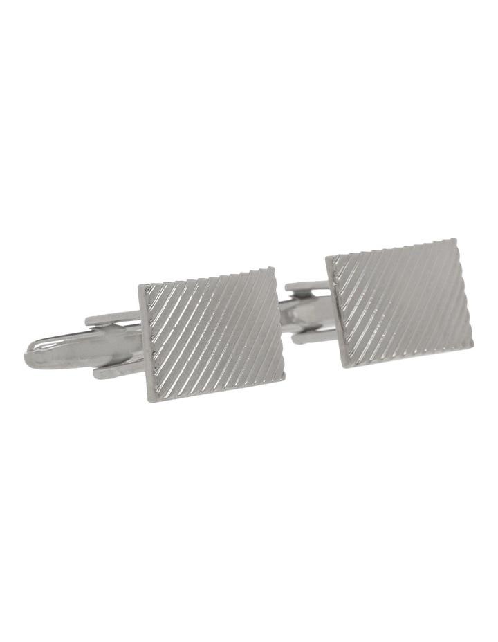 Rhodium Patterned Cufflinks image 2