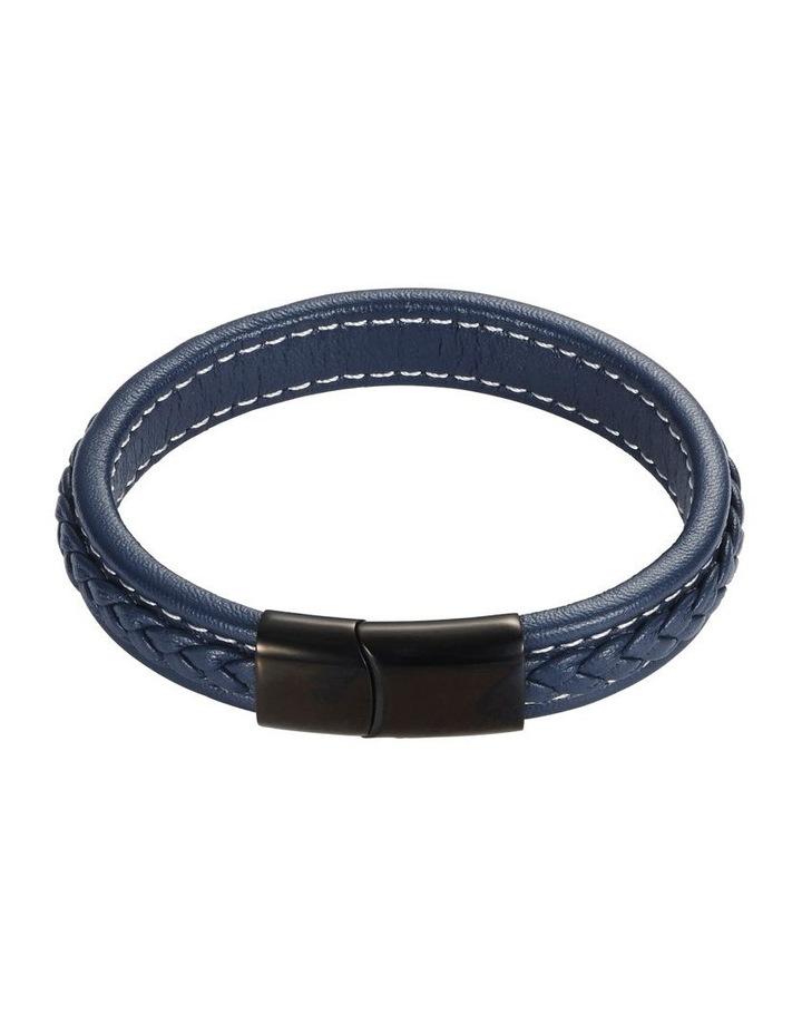 Navy Plaited Leather Bracelet image 1