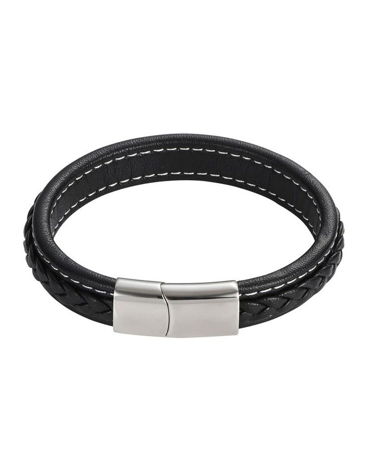 Black Plaited Leather Bracelet image 1