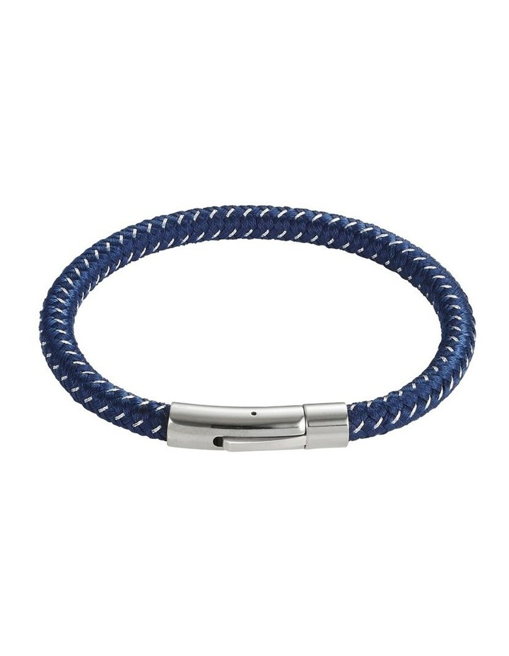 Navy Leather/Steel Bracelet image 1