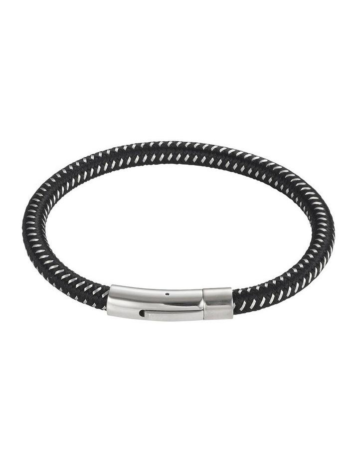 Black Leather/Steel Bracelet image 1
