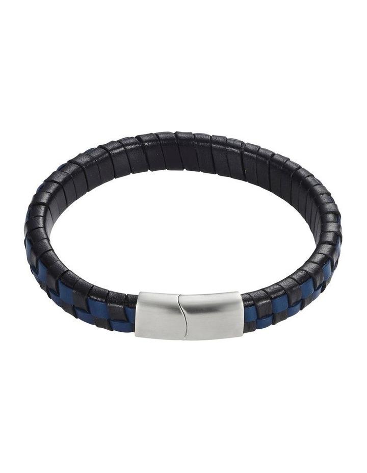 Black & Navy Weave Leather Bracelet image 1