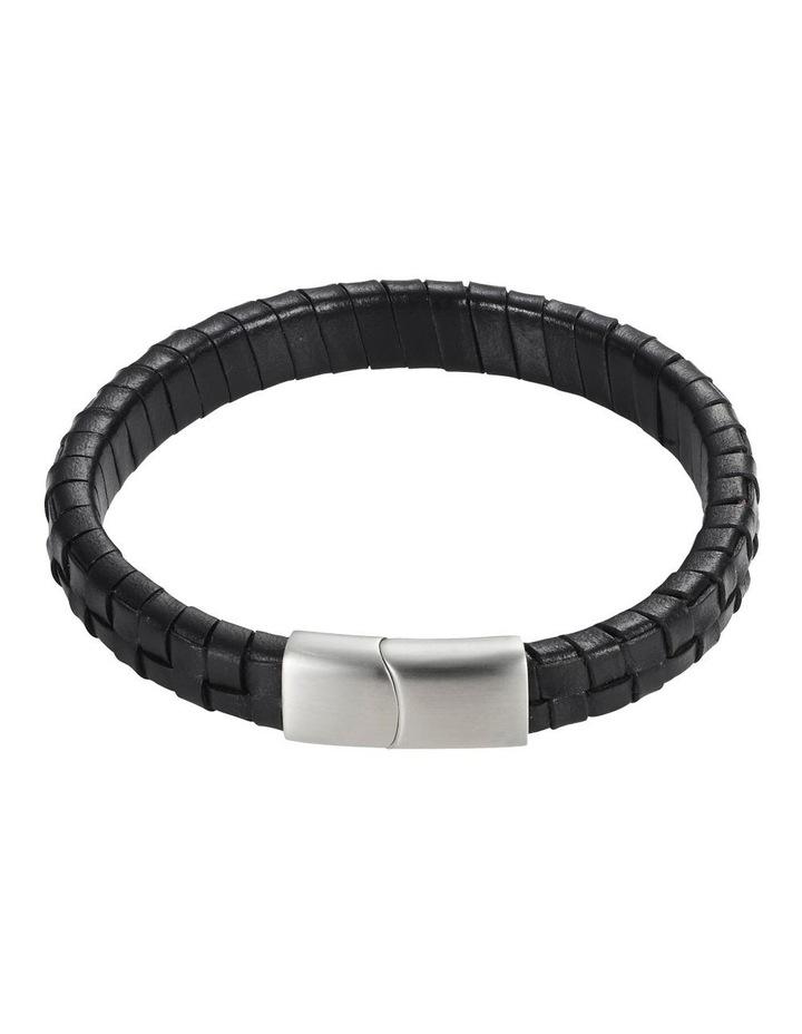 Black Weave Leather Bracelet image 1
