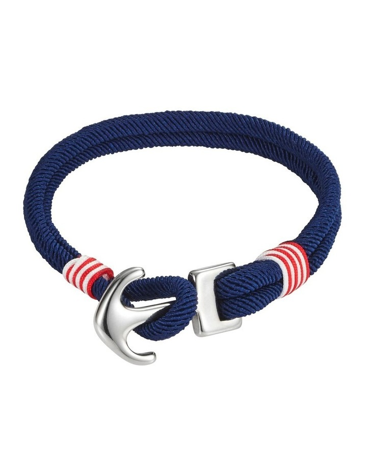 Stainless Steel/Red/White/Blue Cord Anchor Bracelet image 1