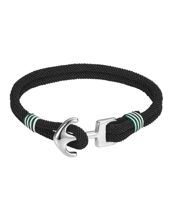 Stainless Steel/Black/White & Green Cord Anchor Bracelet image 1