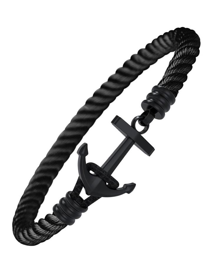 IP Black Stainless Steel/Black Cord Anchor Bracelet image 1