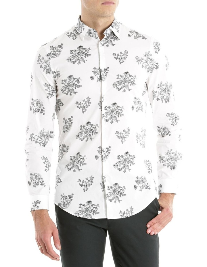 Slim Fit Black And White Flower Print image 1