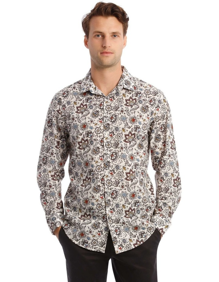 Sonny Floral Print Long-Sleeve Shirt In White image 1