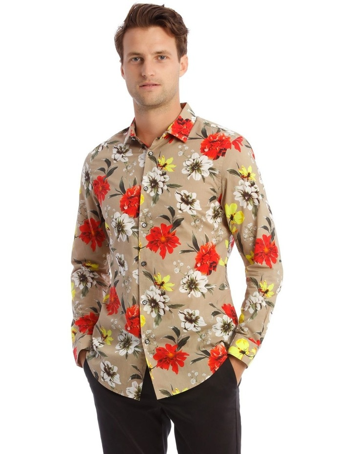 Mickee Floral Long-Sleeve Slim Shirt In Tan image 1