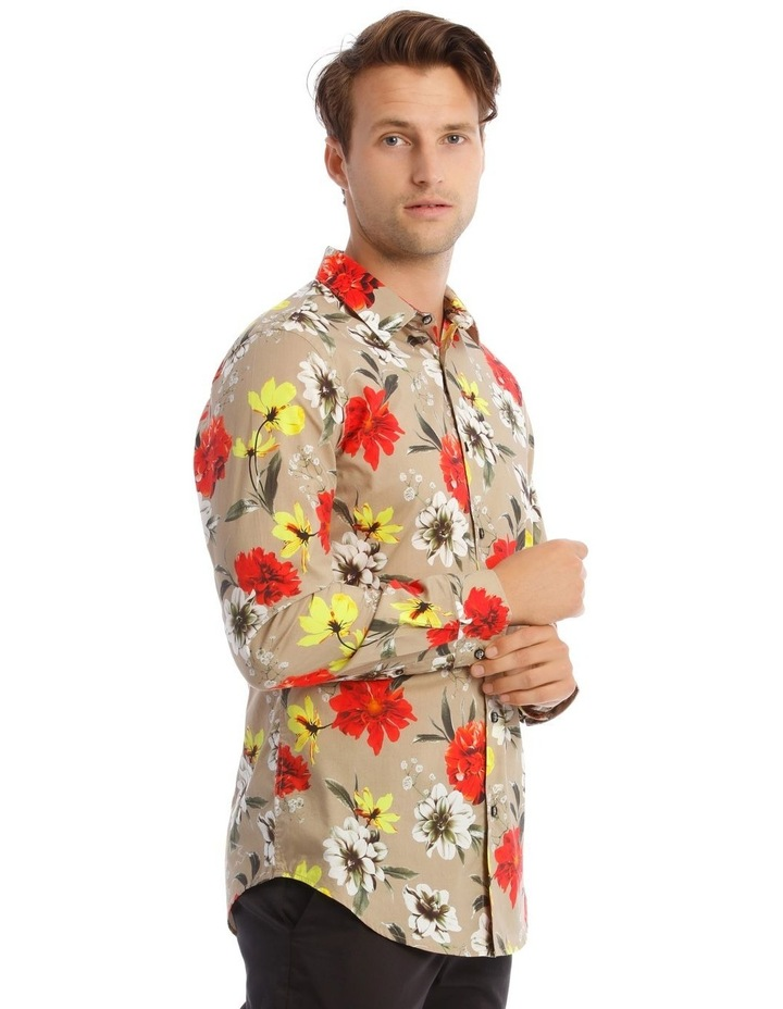 Mickee Floral Long-Sleeve Slim Shirt In Tan image 2