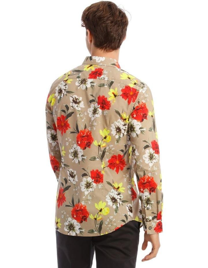 Mickee Floral Long-Sleeve Slim Shirt In Tan image 3