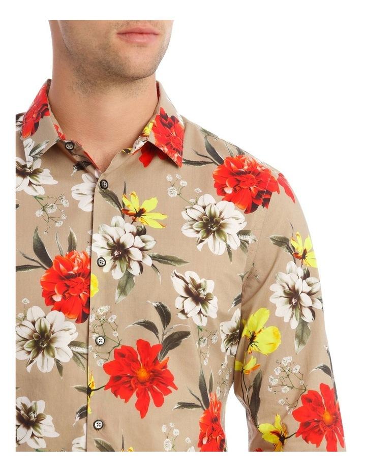 Mickee Floral Long-Sleeve Slim Shirt In Tan image 4