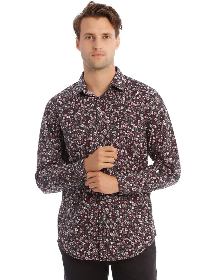 Floral Print Long-Sleeve Shirt In Purple image 1