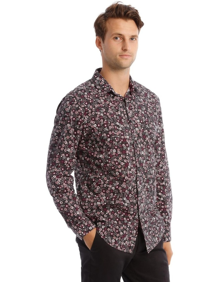 Floral Print Long-Sleeve Shirt In Purple image 2