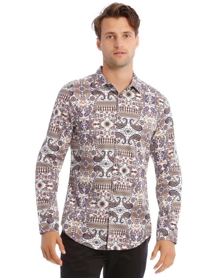 Danny Paisley Slim Long-Sleeve Shirt In White image 1