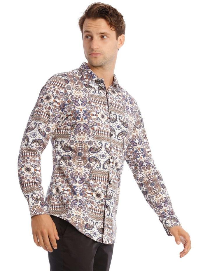 Danny Paisley Slim Long-Sleeve Shirt In White image 2