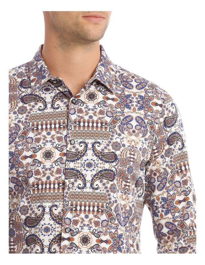 Danny Paisley Slim Long-Sleeve Shirt In White image 4