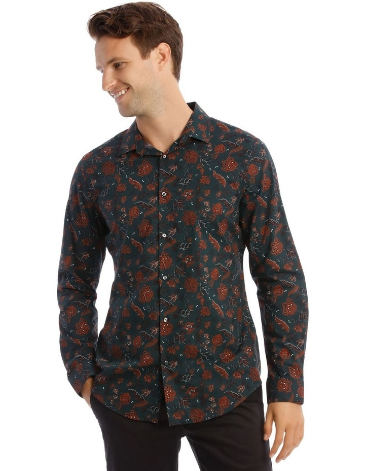 Marty Floral Slim Long-Sleeve Shirt In Forest Green image 1