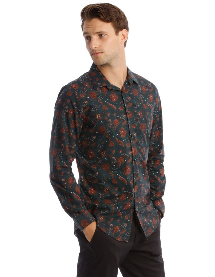 Marty Floral Slim Long-Sleeve Shirt In Forest Green image 2