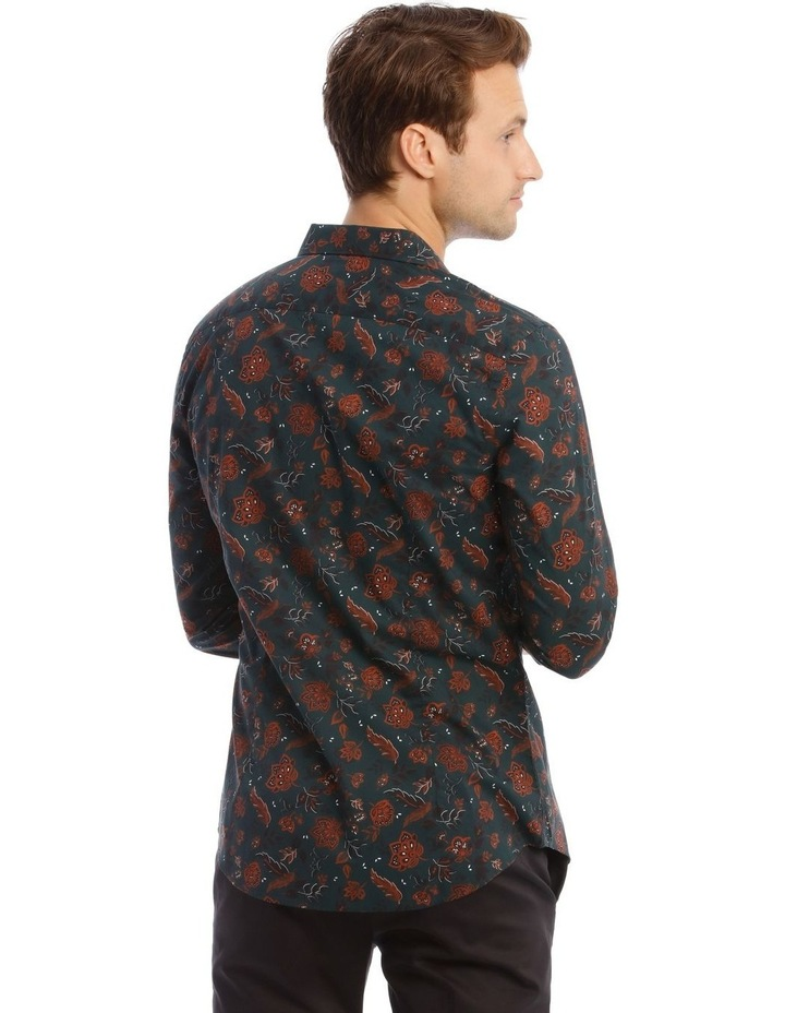 Marty Floral Slim Long-Sleeve Shirt In Forest Green image 3