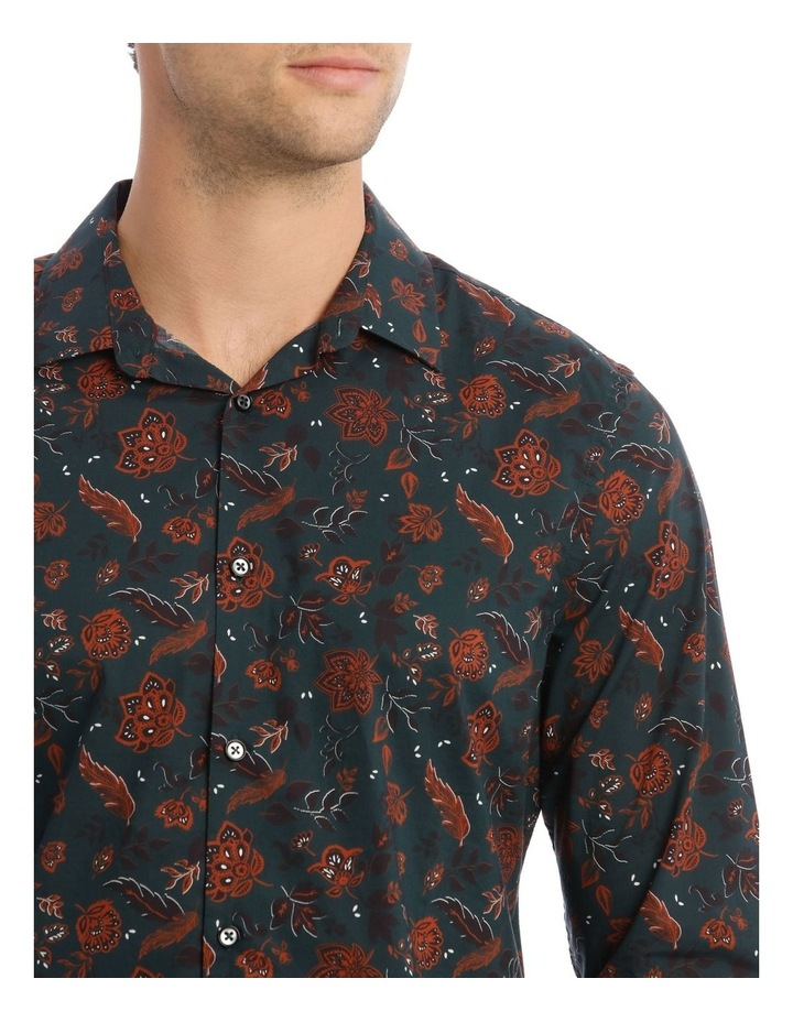 Marty Floral Slim Long-Sleeve Shirt In Forest Green image 4