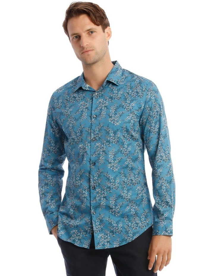 Duvall Floral Slim Long-Sleeve Shirt In Teal image 1