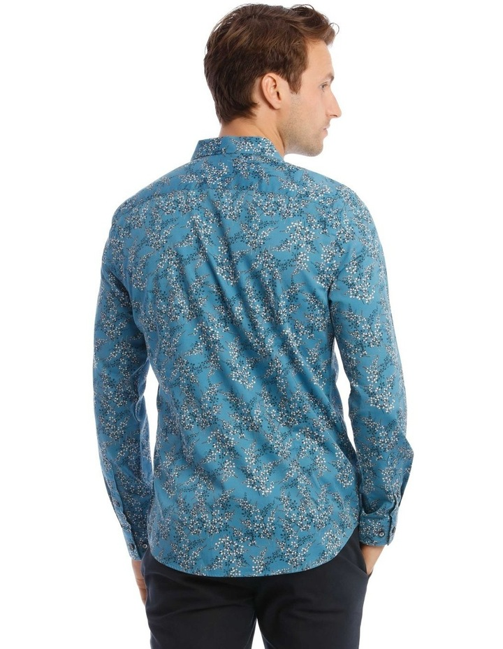 Duvall Floral Slim Long-Sleeve Shirt In Teal image 3