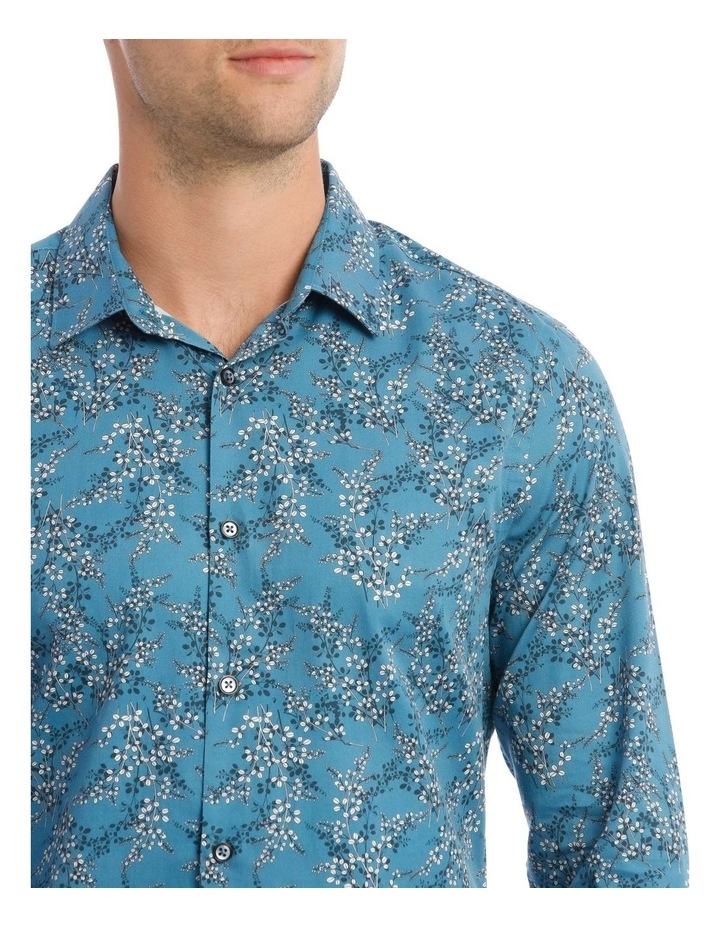 Duvall Floral Slim Long-Sleeve Shirt In Teal image 4