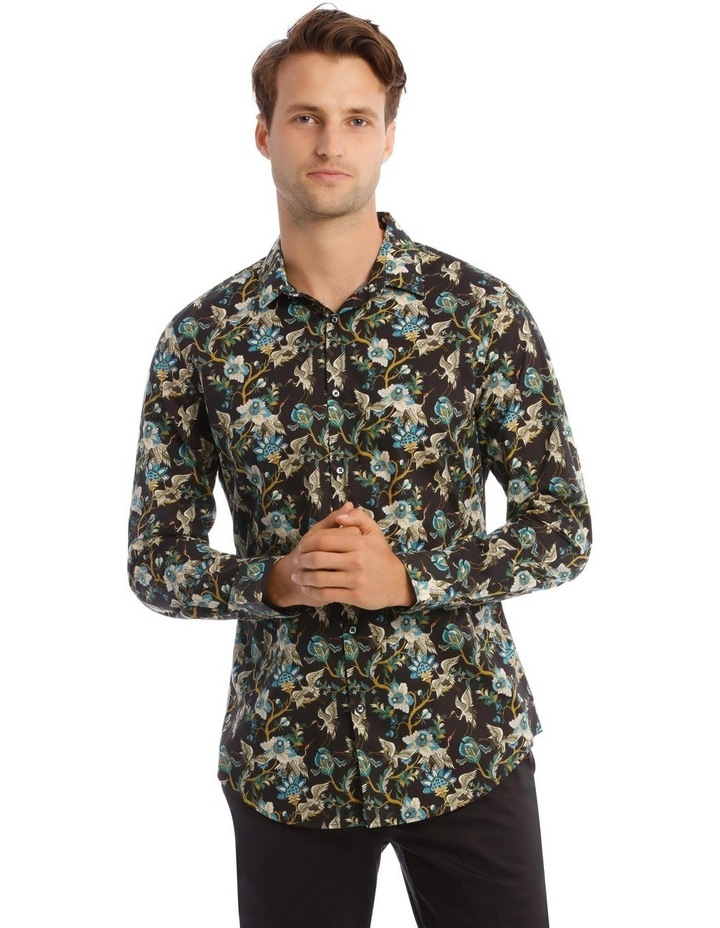 Bluebird Floral Slim Long-Sleeve Shirt In Black image 1