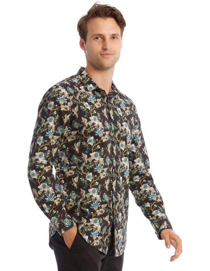 Bluebird Floral Slim Long-Sleeve Shirt In Black image 2