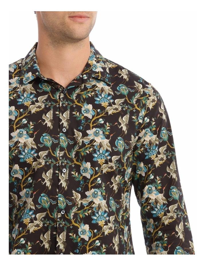 Bluebird Floral Slim Long-Sleeve Shirt In Black image 4