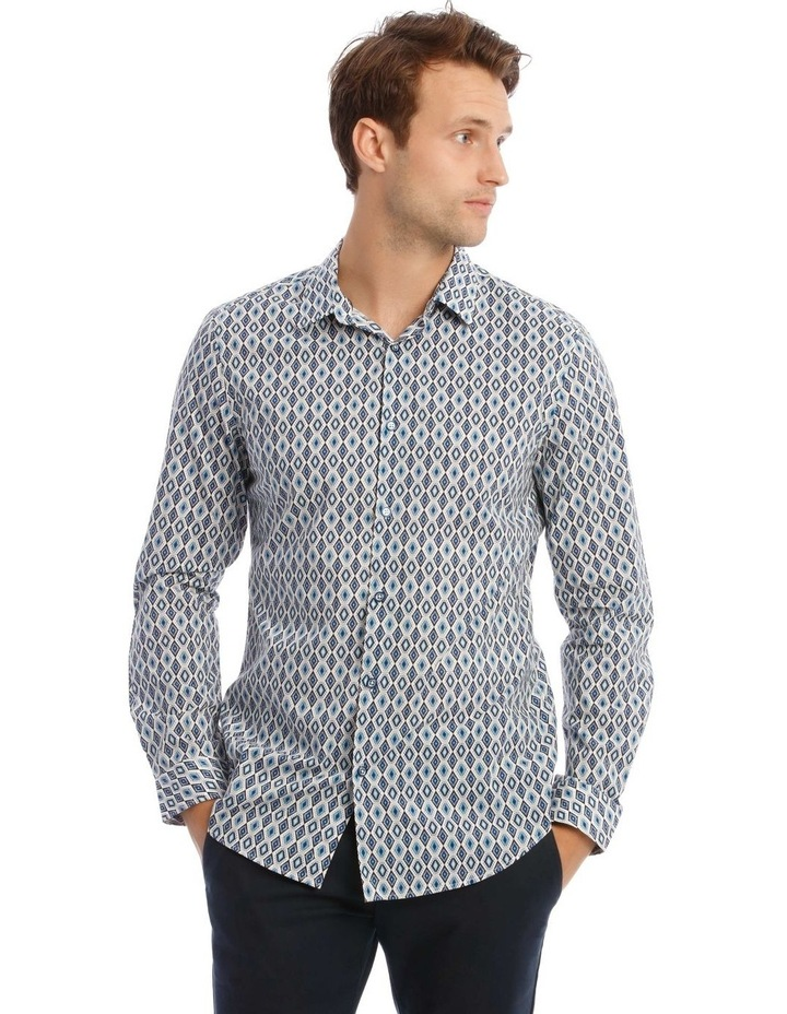 Night Fever Diamond Slim Long-Sleeve Shirt In White image 1