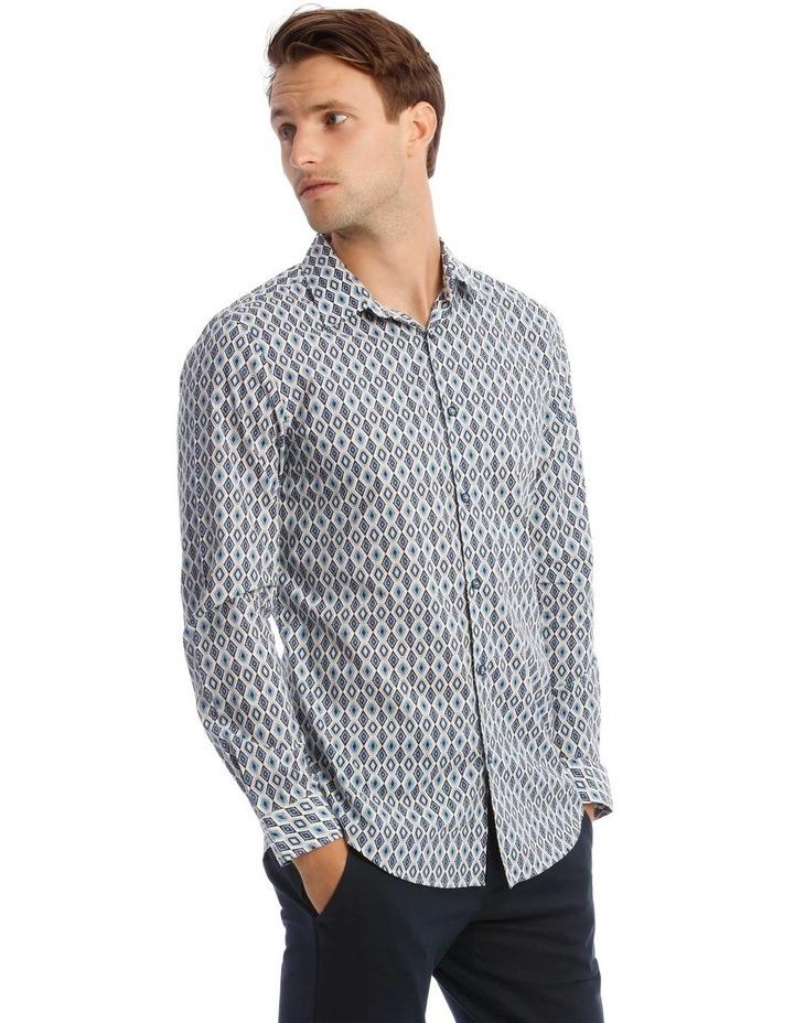 Night Fever Diamond Slim Long-Sleeve Shirt In White image 2