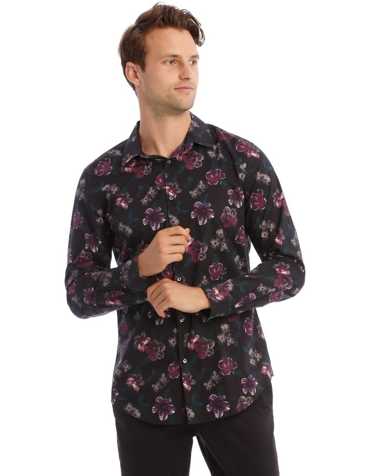 Fontaine Floral Slim Long-Sleeve Shirt In Black image 1