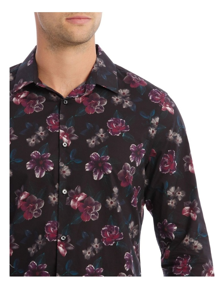 Fontaine Floral Slim Long-Sleeve Shirt In Black image 4