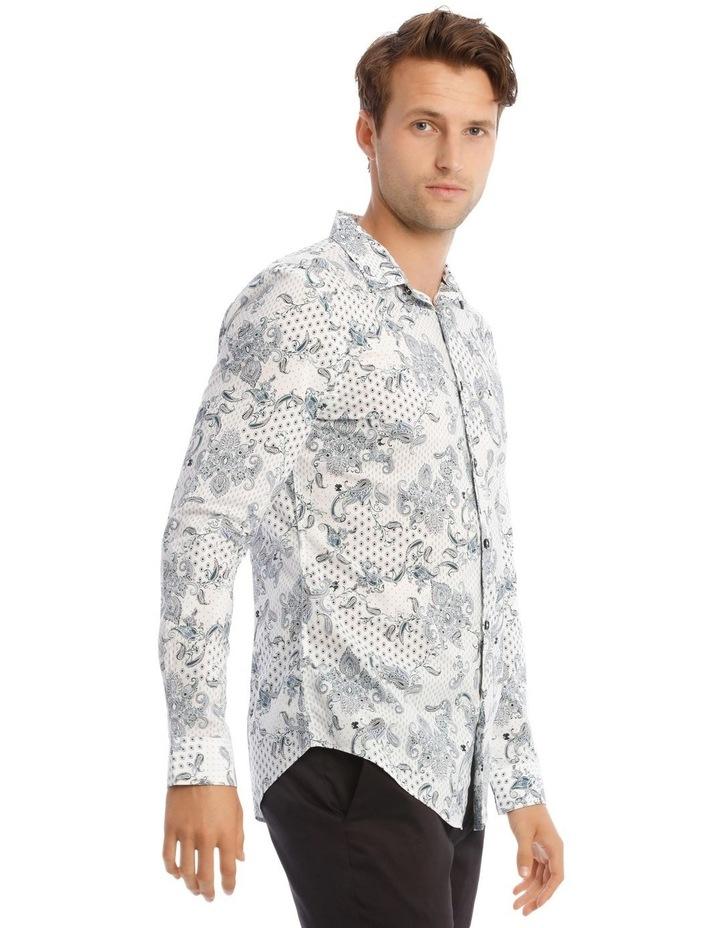 Nicks Floral Slim Long-Sleeve Shirt In Blue image 2