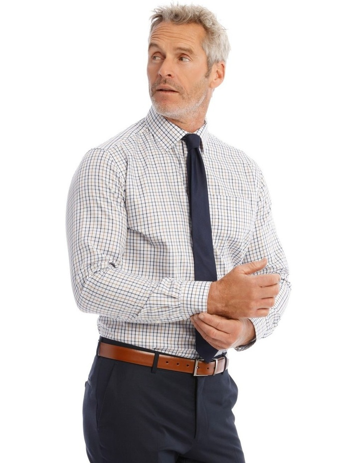 Classic-Fit Tan And Blue Grid Check image 3