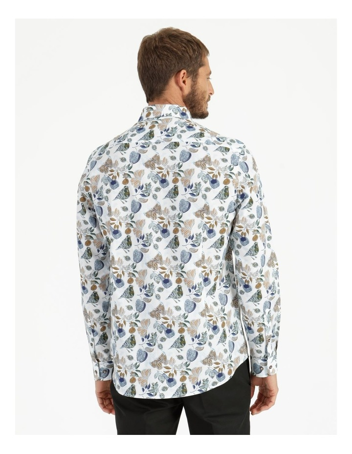 Tremblay Bird Print Long Sleeve Shirt White image 4