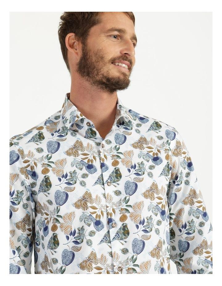 Tremblay Bird Print Long Sleeve Shirt White image 5