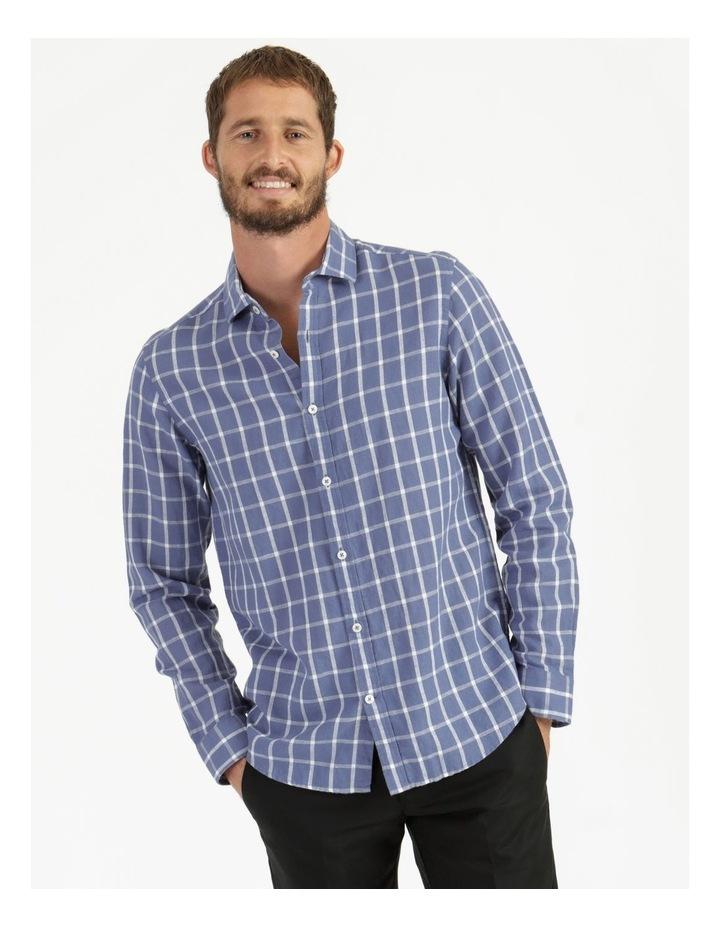 Morton Linen Check Long Sleeve Shirt Blue image 1
