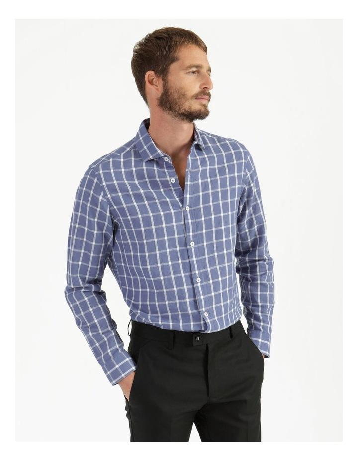 Morton Linen Check Long Sleeve Shirt Blue image 2