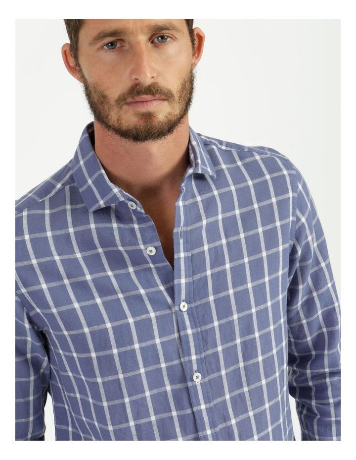 Morton Linen Check Long Sleeve Shirt Blue image 6