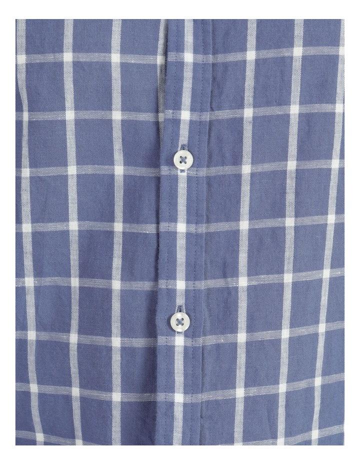 Morton Linen Check Long Sleeve Shirt Blue image 7