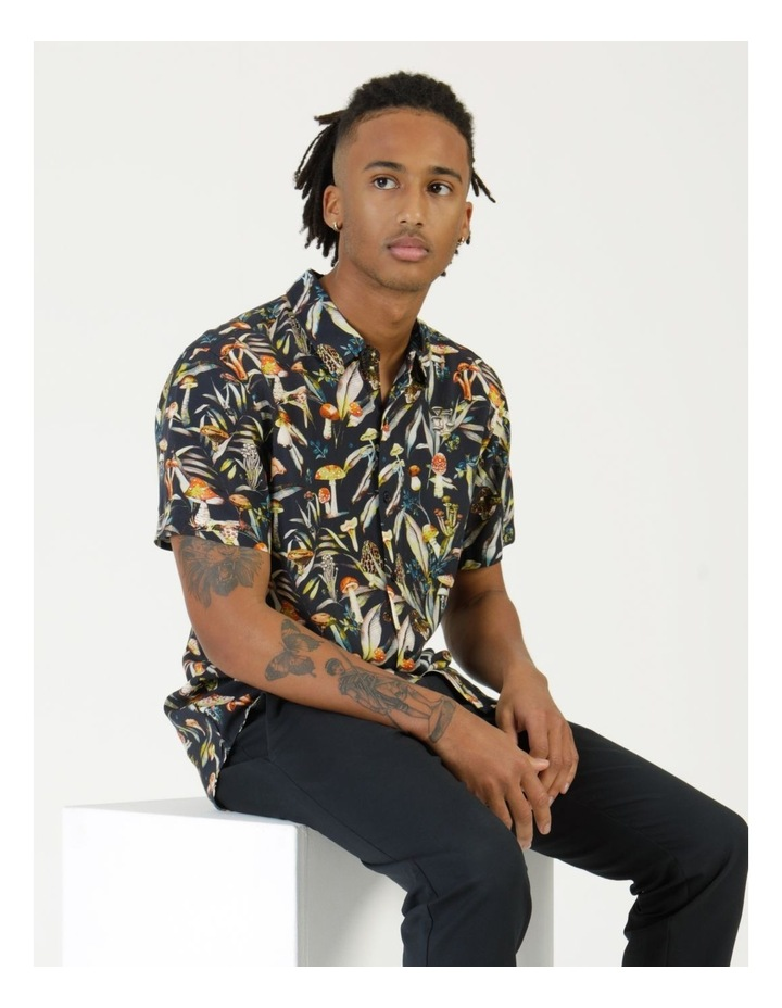 Mushroom Forager Print Short Sleeve Formal Rayon Shirt image 3