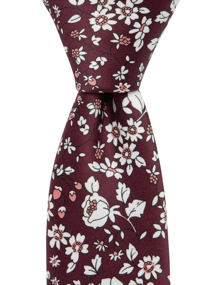Blaq Small Floral Tie Burgundy image 1